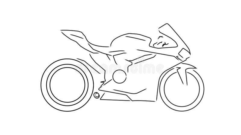 Sport motorcycle line illustration stock illustration