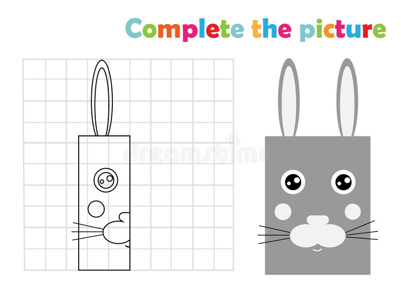 Complete picture bunny coloring page book, vector illustration vector illustration