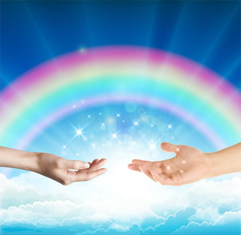 Magical love healing energy from hands with rainbow sky background. Female hand facing up and male hand facing up connecting them together with sparkling stars vector illustration