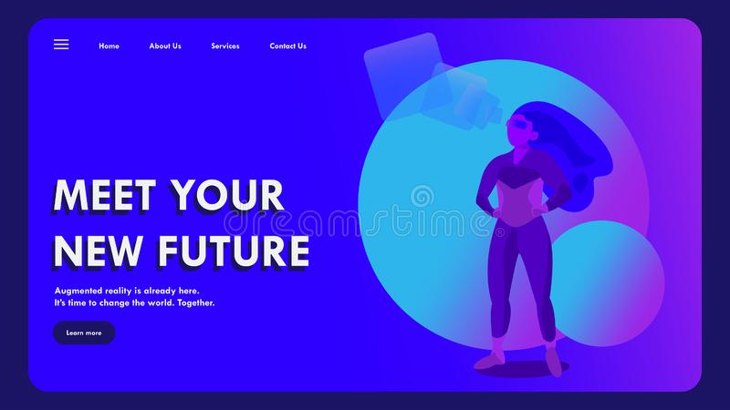 Augmented reality character concept. Landing page template. Vector illustration in trendy colors royalty free stock photo