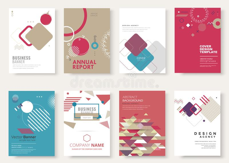 Set of brochure, annual report, flyer design templates. Vector illustrations for business presentation stock illustration