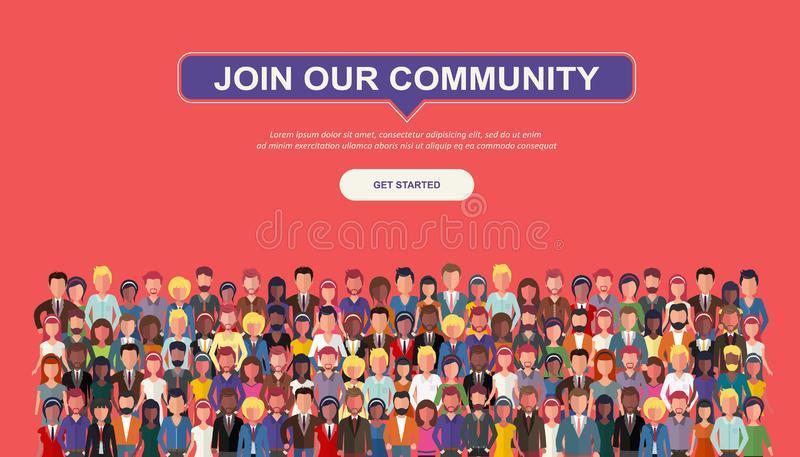Join our community. Crowd of united people as a business or creative community standing together. Flat concept vector website temp stock illustration
