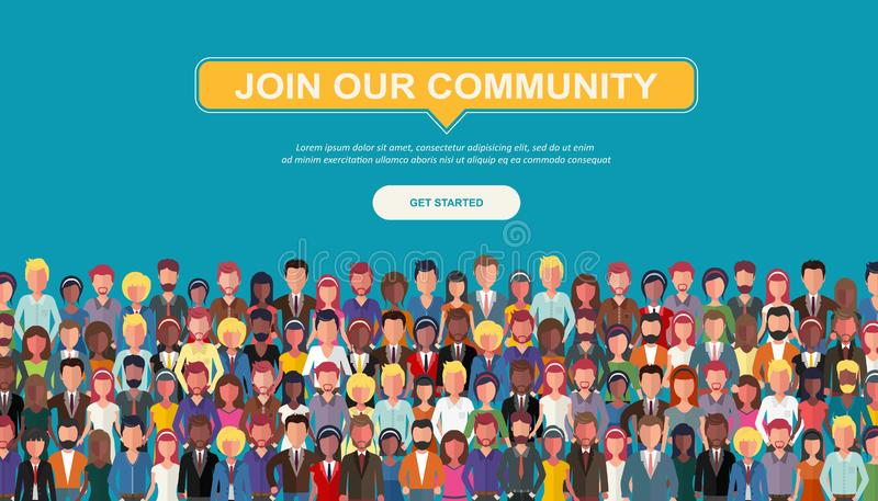 Join our community. Crowd of united people as a business or creative community standing together. Flat concept vector website temp vector illustration