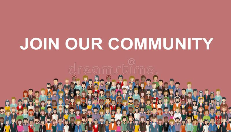 Join our community. Crowd of united people as a business or creative community standing together. Flat concept vector website temp royalty free illustration