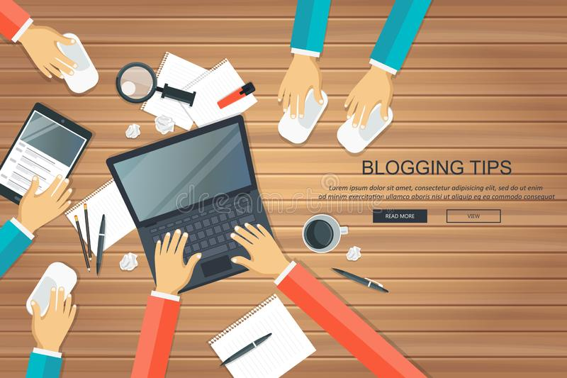 Writing a story or column for newspaper or magazine. Blogging tips concept. Office desk with equipment. Flat vector royalty free illustration