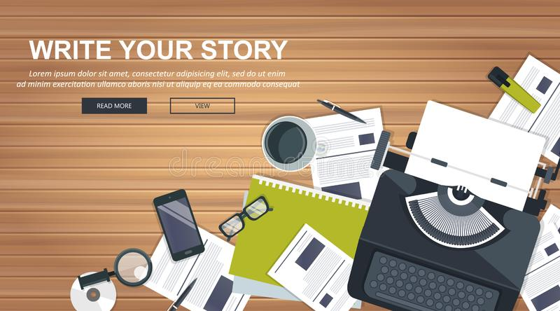 Writing a story or column for newspaper or magazine. Blogging tips concept. Office desk with equipment. Flat  stock illustration