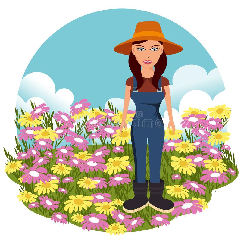 Female farmer on the flower field. Nature and agriculture concept. Flat vector. Illustration royalty free stock photo
