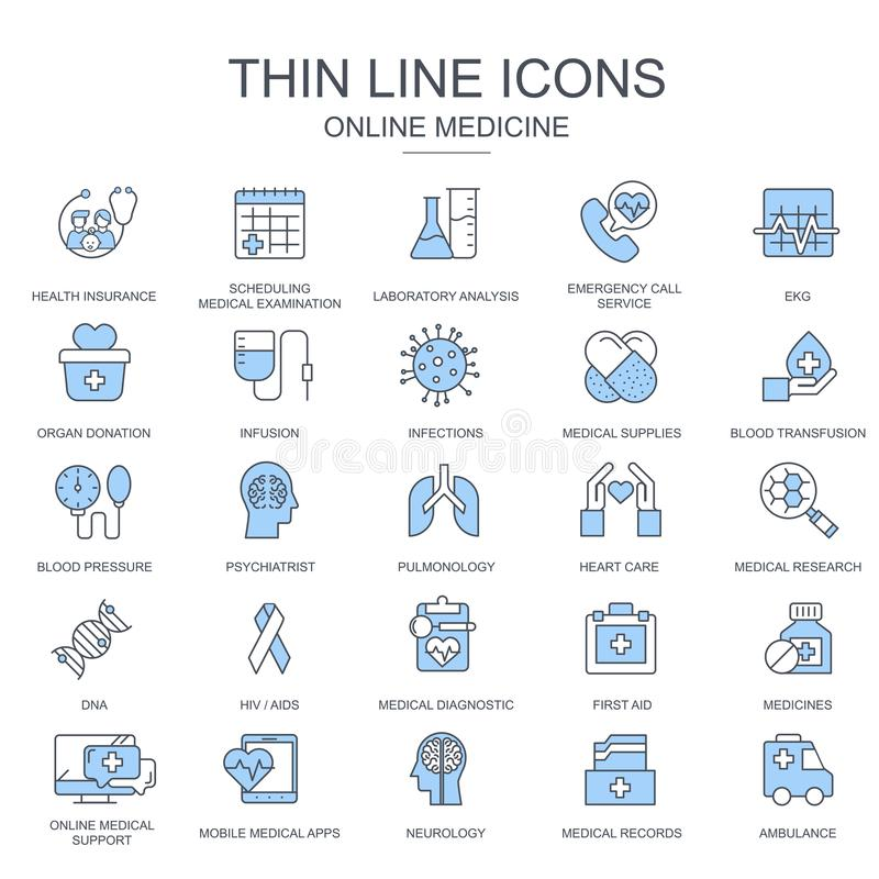 Thin line healthcare and medicine, medical equipment icons set for website and mobile site and apps royalty free illustration
