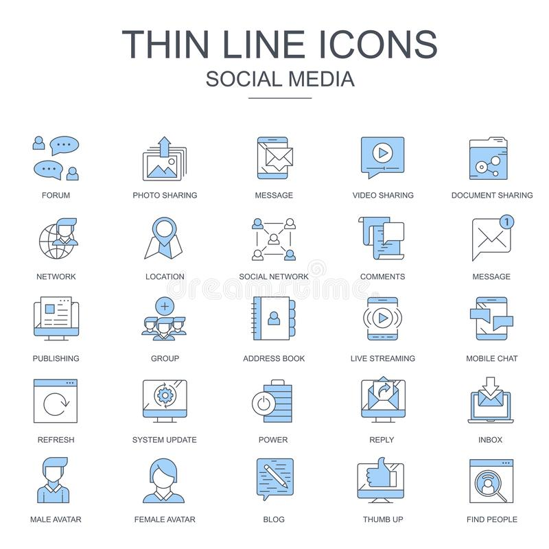Thin line internet marketing and social network icons set for website and mobile site and apps. Contains such Icons as Forum, Chat vector illustration