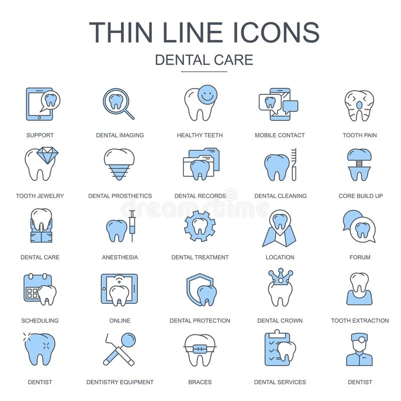 Thin line dental care, dentistry equipment icons set for website and mobile site and apps. Contains such Icons as Dentist, Braces. Flat vector illustration vector illustration