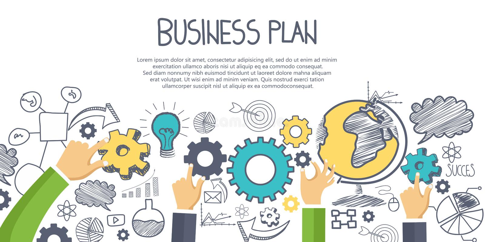 Business plan concept. Hand drawn business elements with hands. Flat vector. Illustration royalty free illustration