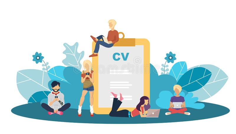 Human resources management concept, searching professional staff, analyzing resume papers, work. Flat vector. Illustration stock illustration