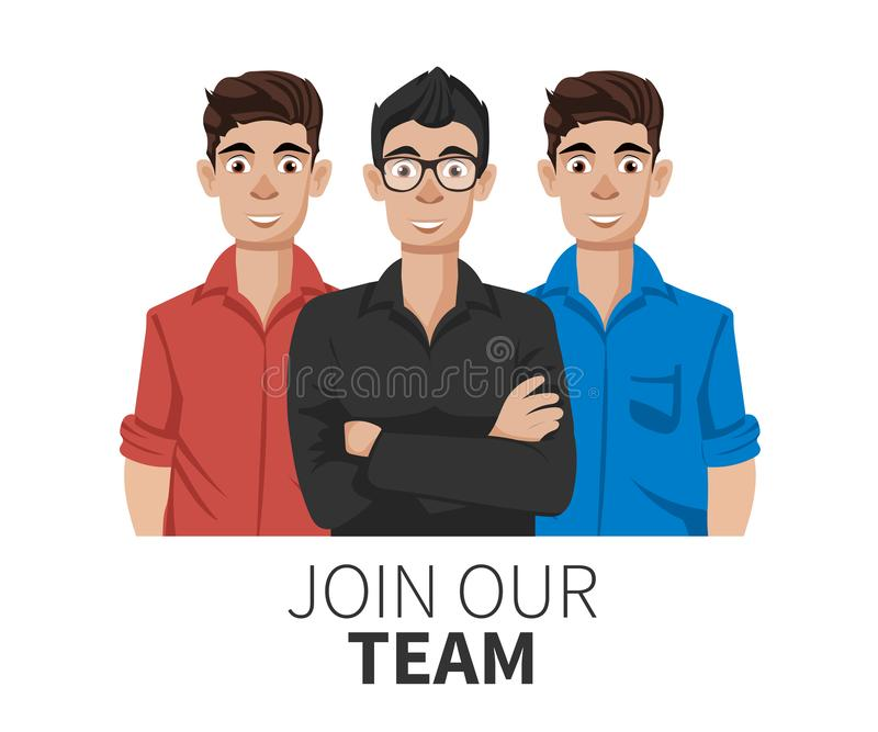 Join our team. United people as a business or creative community standing together. Flat concept vector website template stock illustration