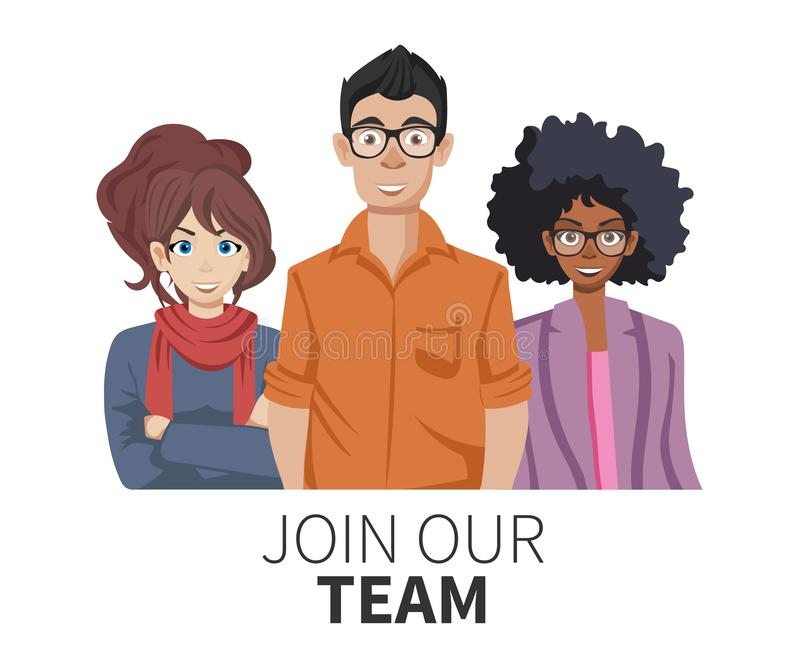 Join our team. United people as a business or creative community standing together. Flat concept vector website template vector illustration