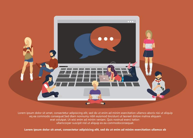 People sitting on big notebook. Social network web site. Surfing concept illustration of young people using lap tops and phones royalty free illustration