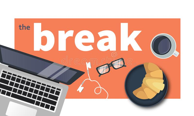 Take a break from work. Cup of coffee with lap top. Coffee time, coffee break concept. Flat vector. Illustration vector illustration