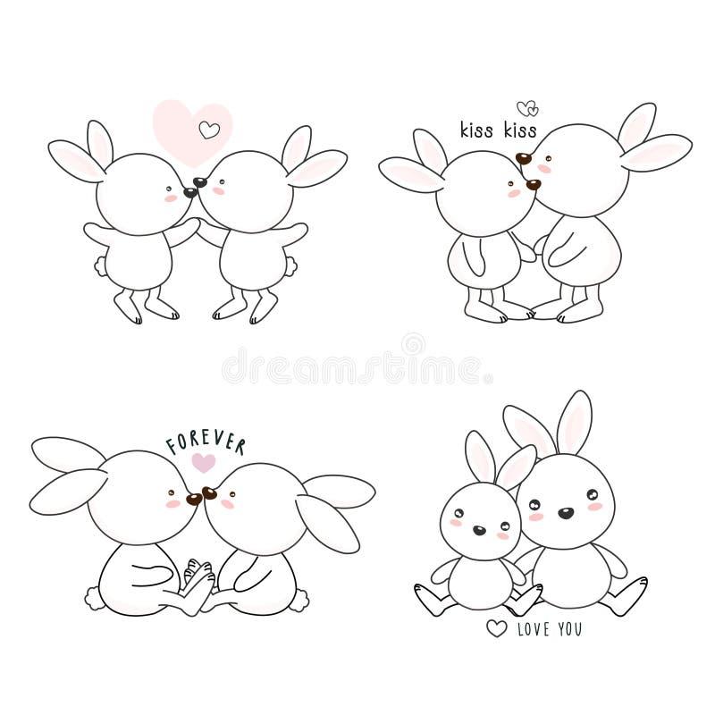 Set of lovely cartoon white rabbit fall in love . Flat line art style hand drawn design for greeting card, invitation,sticker vector illustration