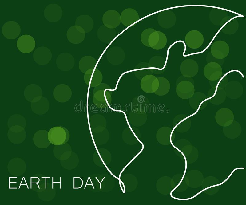 Earth day concept green background, world map, vector illustration stock illustration