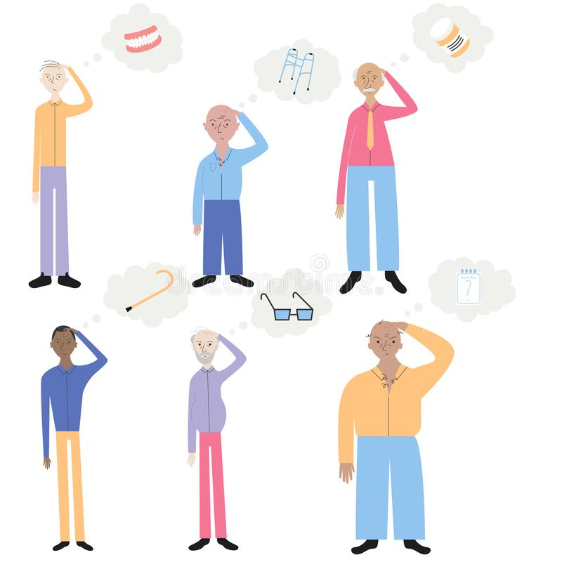 Old people with memory loss vector illustration. Set of old women trying to remember different things. Flat minimal design style royalty free illustration