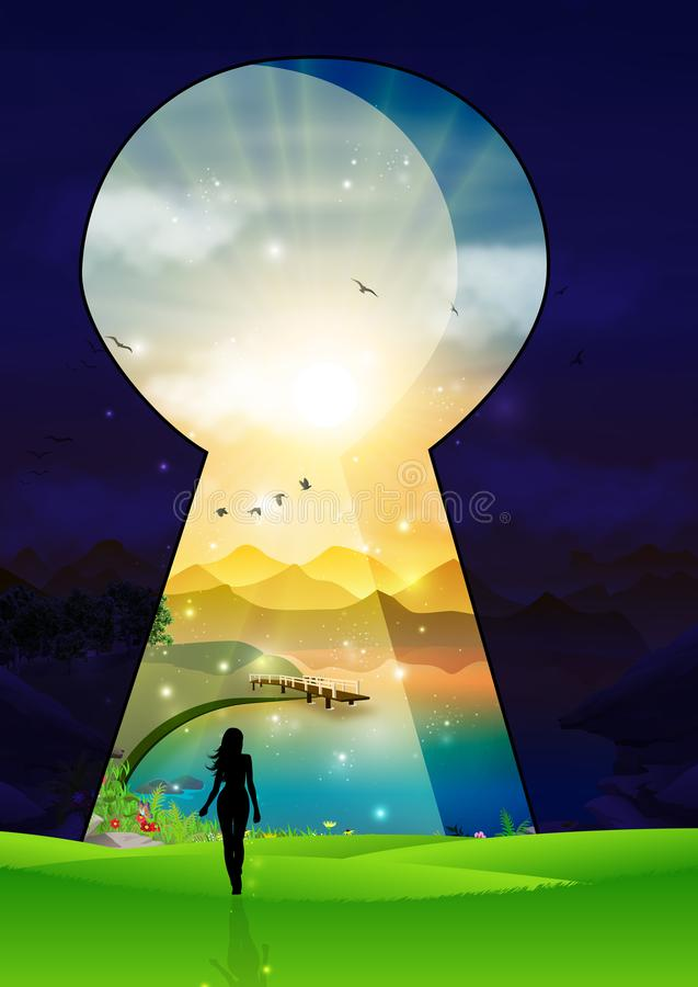 Door keyhole entrance to new magical world. Door keyhole entrance to new world. Concept of change and reveal new better world, clean environment, peaceful royalty free illustration
