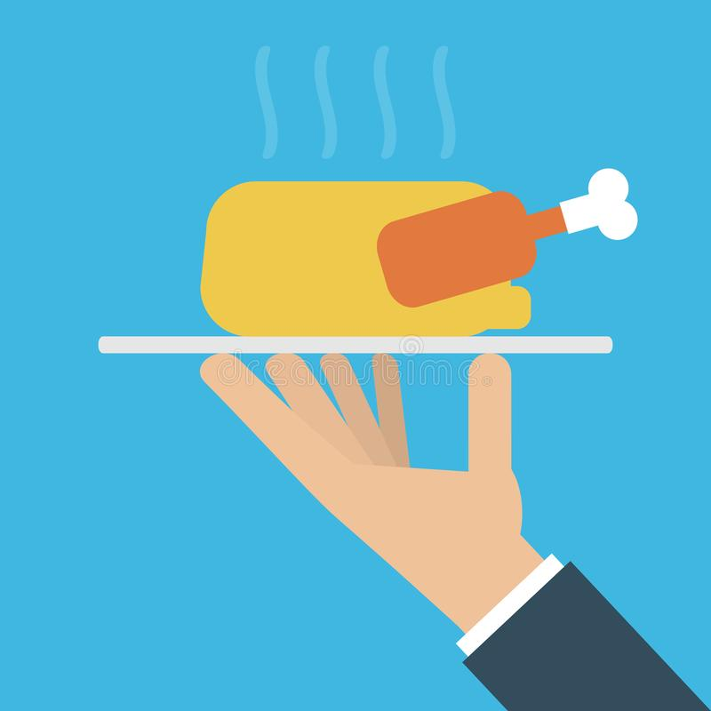 Hand holding hot roasted chicken on a platter royalty free illustration