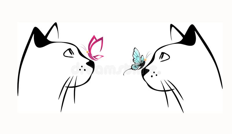 Cat and butterfly on nose royalty free illustration