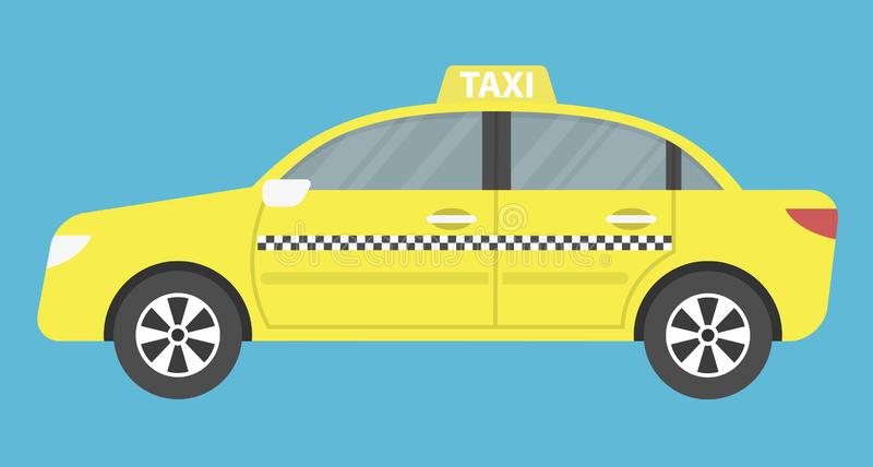 Taxi cab icon. Yellow taxi cab on blue background vector illustration