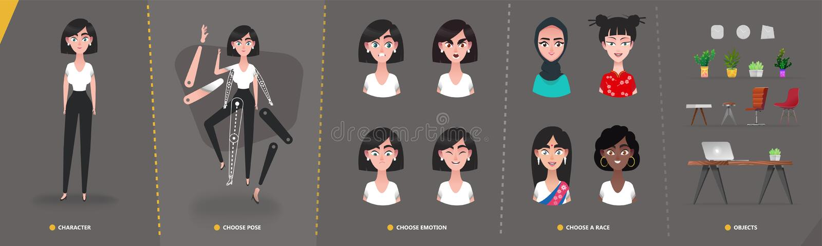 Cartoon  character business woman  girl  for animation and motion design royalty free illustration