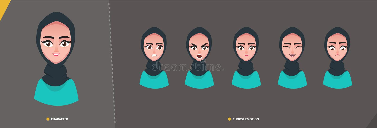 Arab woman girl character set of emotions royalty free illustration