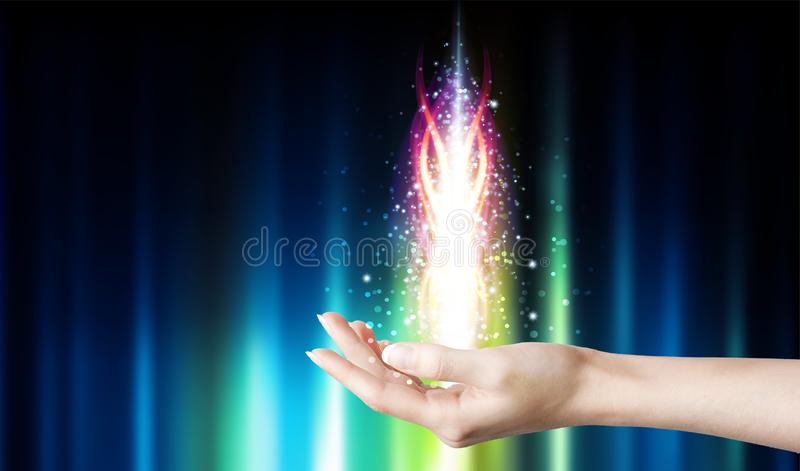 Magical healing energy stock photo