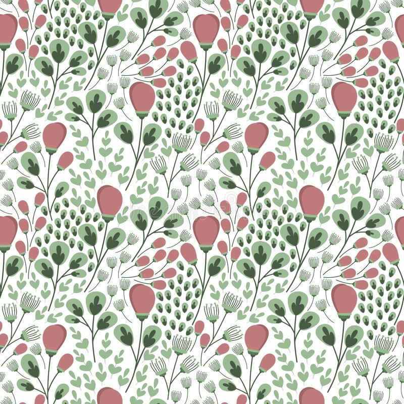 Floral seamless pattern in soft spring colors. Floral seamless repeat pattern. Spring background. Surface design for fabric, stationary, scrapbooking stock illustration