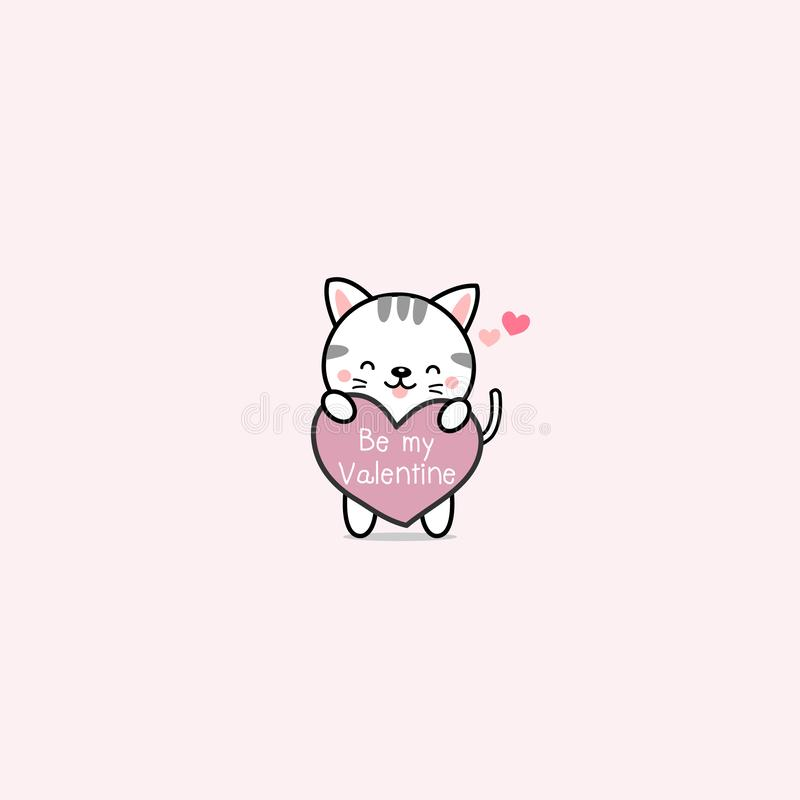 Little cat with pink hearts. royalty free illustration