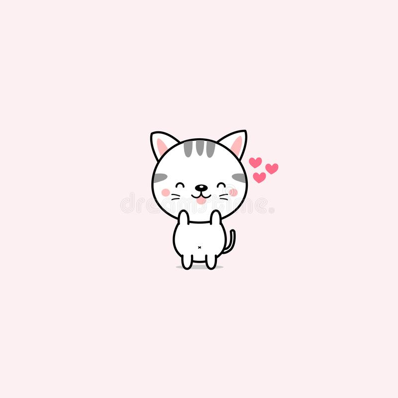 Little cat with pink hearts. stock illustration