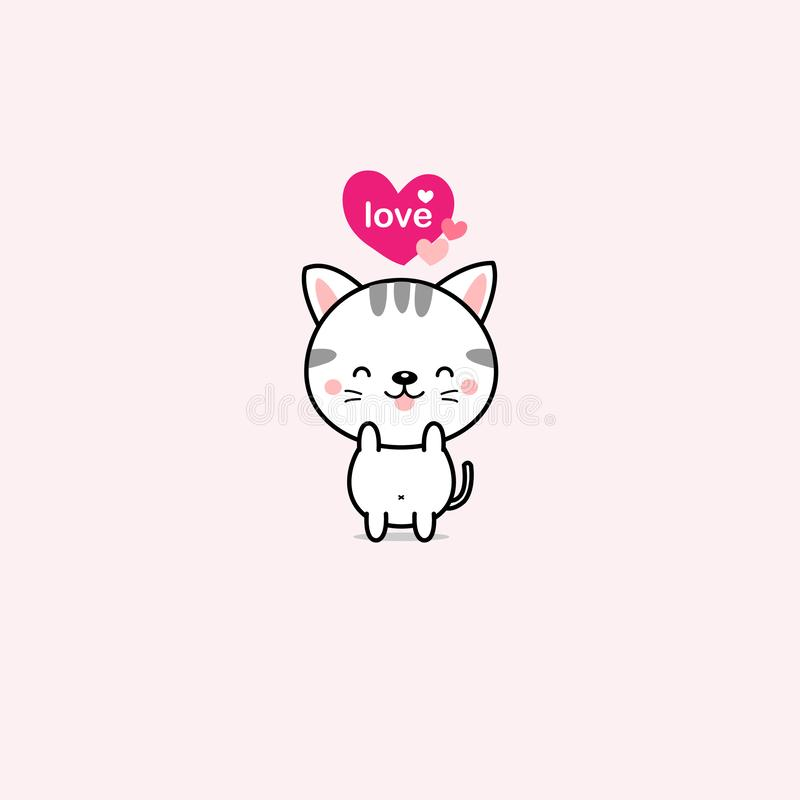 Little cat with pink hearts. vector illustration. royalty free illustration