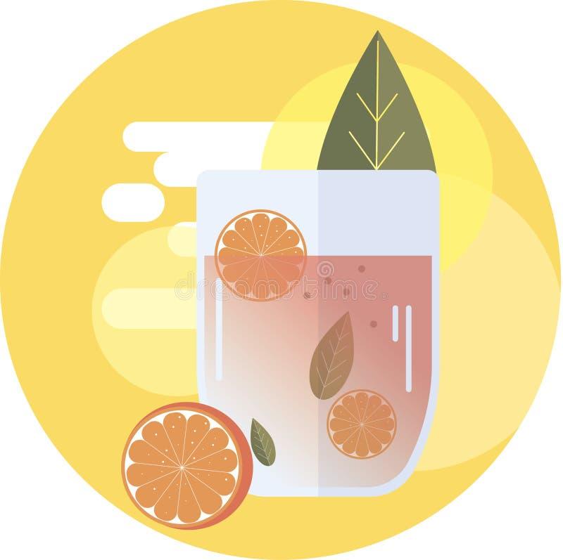 Vector fresh orange grog cocktail vector illustration
