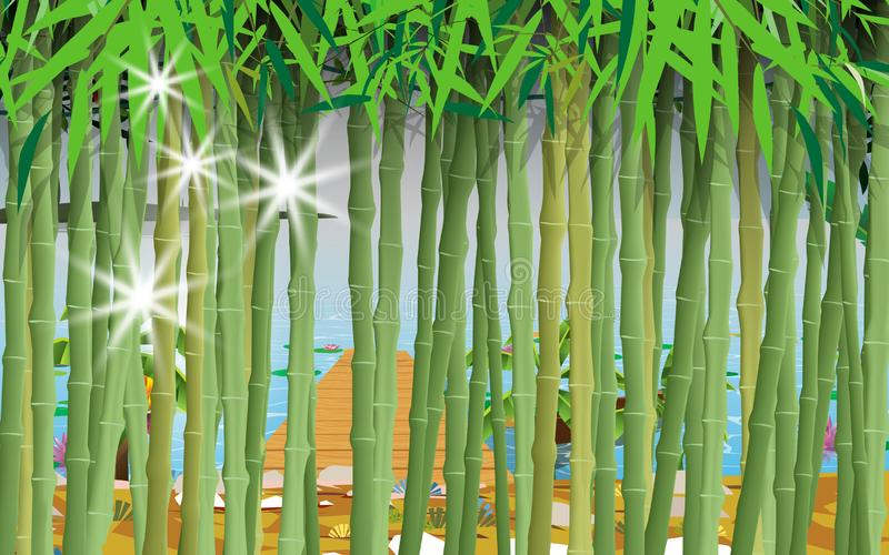 Landscape of the beach. Landscape of bamboo forest by the river vector illustration