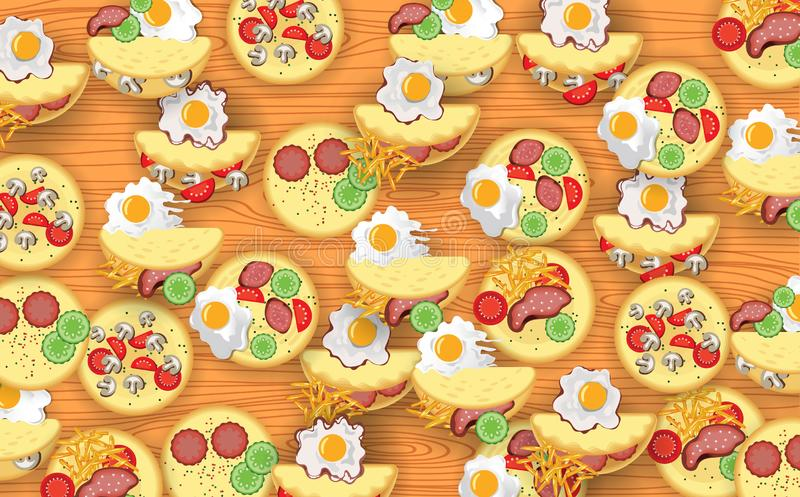 Eggs on table. Colorful omelet on the wooden table stock illustration