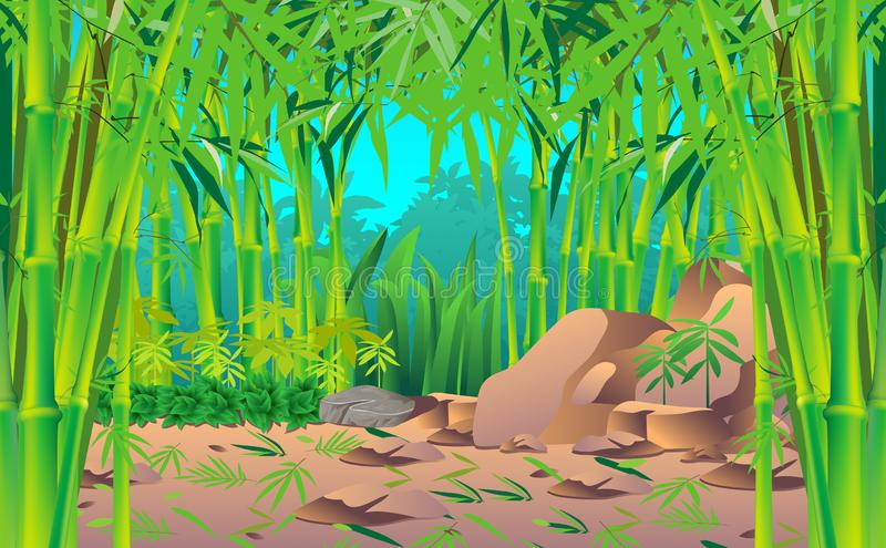 Landscape of jungle. Landscape of the bamboo forest royalty free illustration