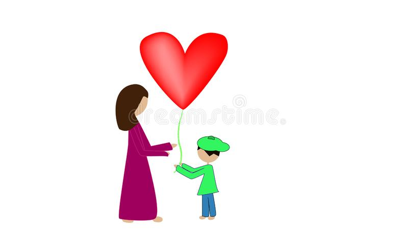 Cute little boy gives a heart balloon to his mother royalty free illustration