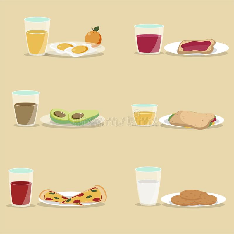 Vector breakfast concept set with food and drinks with flat icons in composition. Breakfast composition sandwich and omelette, juc. E, breakfast food bakery vector illustration