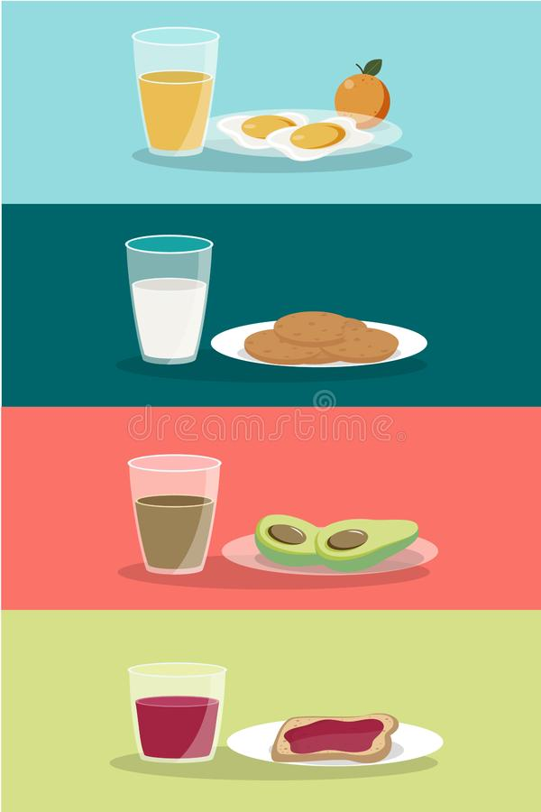 Vector breakfast concept set with food and drinks with flat icons in composition. Breakfast composition sandwich and omelette, juc. E, breakfast food bakery royalty free illustration
