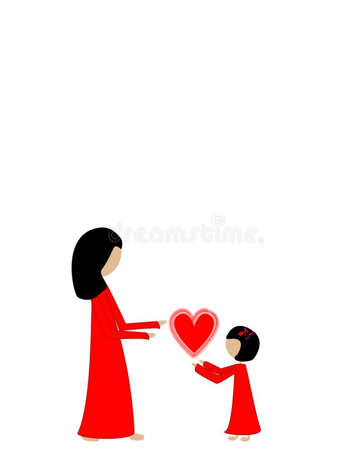 Black haired cute girl gives her mother a red heart vector illustration
