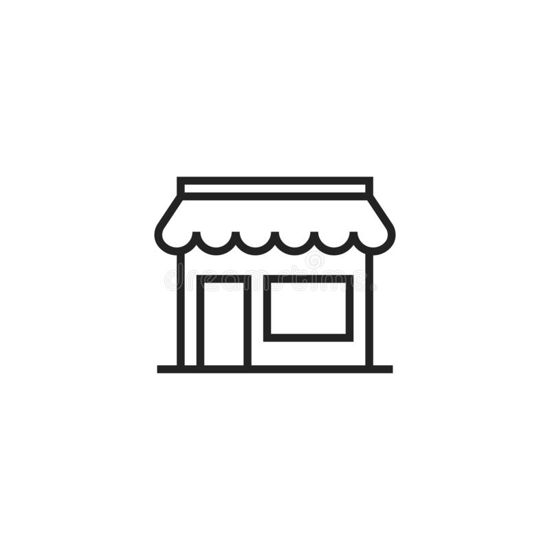 Shop Outline Vector Icon, Symbol or Logo. royalty free illustration