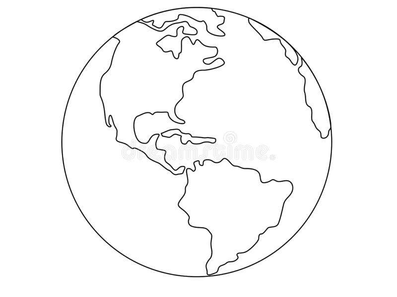 Planet Earth, globe vector linear picture. Outline. North and South America. Central America. The Atlantic Ocean and the Pacific O. Cean. For coloring stock illustration