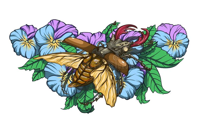Bug on flowers. Beetle deer with horns sitting on the flowers of pansies, color picture in vector vector illustration