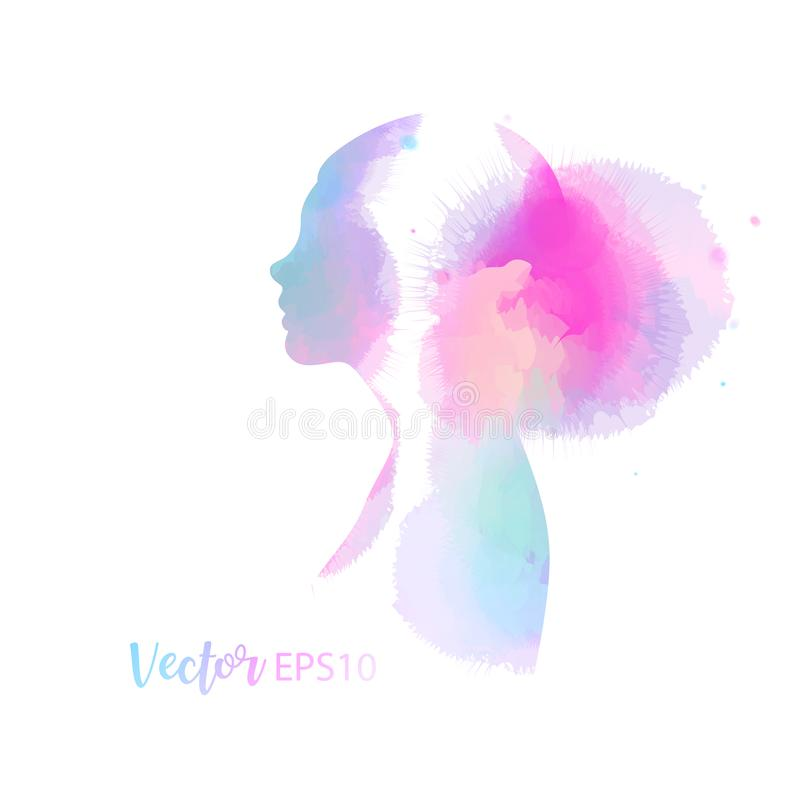 Double exposure illustration. Woman silhouette plus abstract water color painted. Digital art painting.Vector illustration royalty free illustration