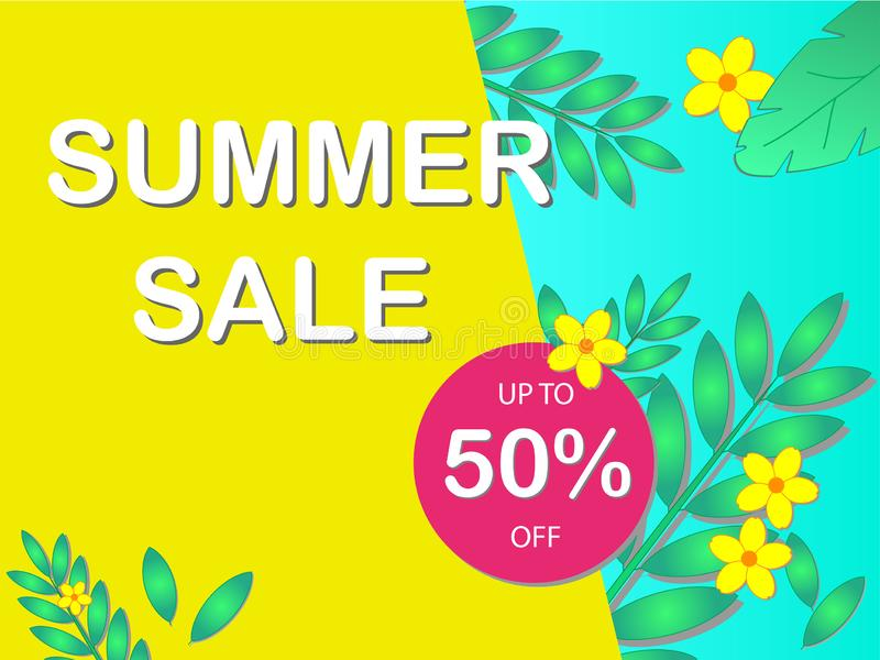 Sale concept banner with the text `Summer Sale` and discount percentage.  royalty free illustration
