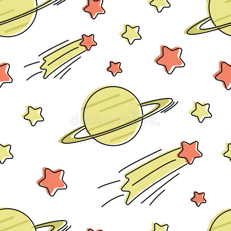 Seamless vector pattern with cartoon stars and planet stock illustration