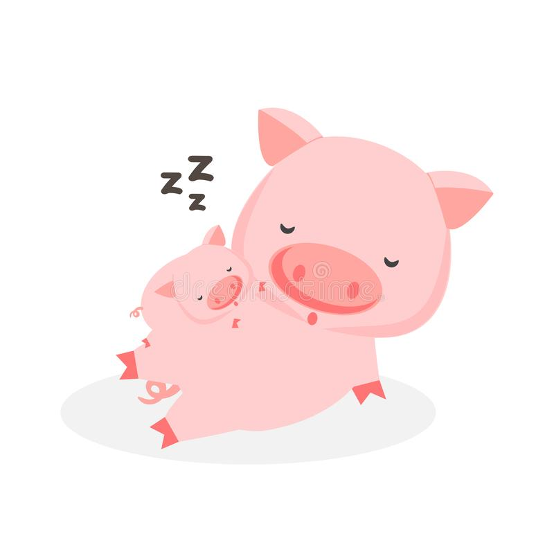 Cute cartoon baby pig is lying on the belly of his mother. vector illustration