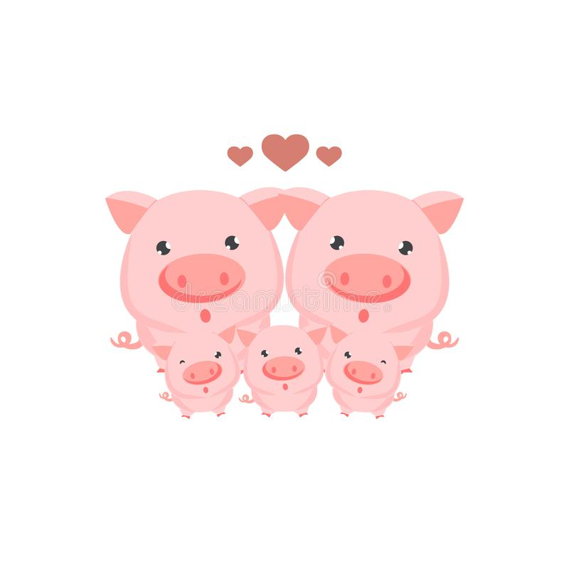 Happy family of pigs card. vector illustration